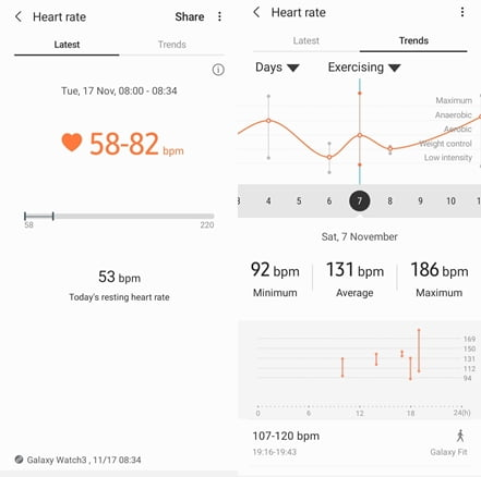 Heart rate tracking with Samsung Galaxy Watch