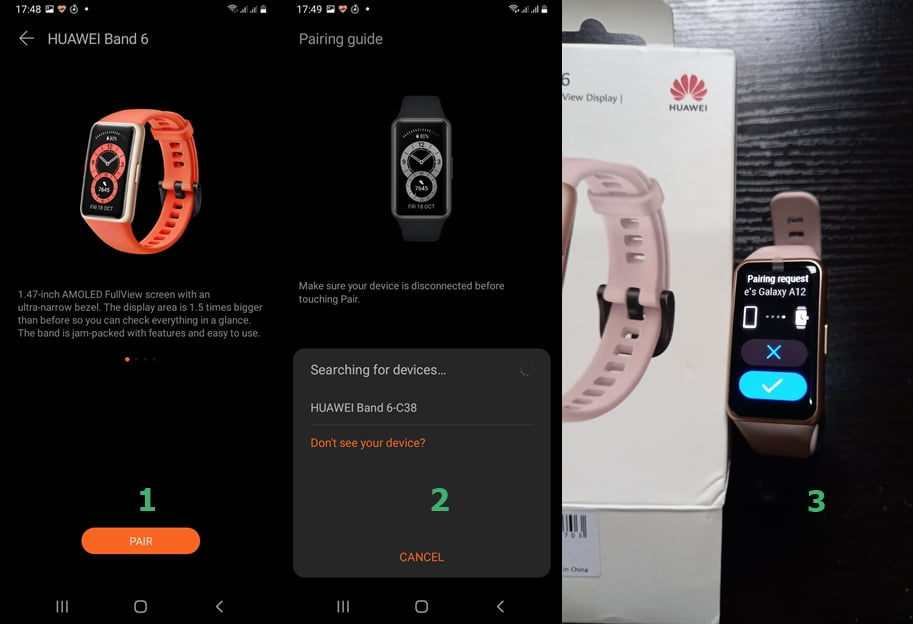 how to pair Huawei Band 6 with a compartible smartphone